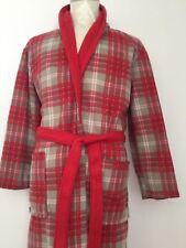 Men's Red & Green & White Check Fleece Robe  ONE SIZE