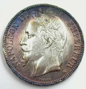 FRANCE 1867 SILVER 5 FRANCS NEARLY UNCIRCULATED IRIDESCENT TONING!!