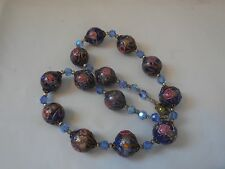 Blue Venetian Murano Wedding Cake Glass Bead Necklace Blue Crystals Vintage