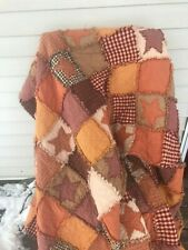 PriMiTive Rag Quilt Throw Red Orange Patchwork Stars Fall Farmhouse All sizes