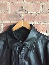 Rag & Bone Men's Leather Shirt Jacket, Sz Medium Sample Black Shiny
