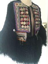 **TETE BY ODETTE** Embellished Shearling Fur Boho Jacket Coat