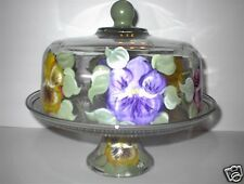 HAND PAINTED FLORAL  PANSY CAKE  PLATE/PUNCH BOWL/SERVER
