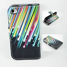 Meteor Leather Flip Stand Wallet Protective Cover Case For Apple iPhone 4 4G 4S