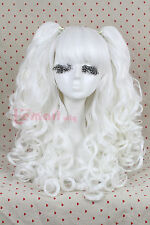 USA Ship lolita wave long WHITE clip on/in ponytails cosplay party wig RW137G
