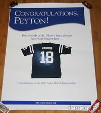 2007 Peyton Manning St. Mary's Health System Colts Super Bowl Win Promo Poster