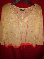 PJK Patterson J Kincaid Yellow Gold Floral Sheer Printed Blouse Top Size Small
