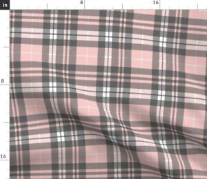 Pink Grey Plaid Wholecloth Coordinate Tartan Spoonflower Fabric by the Yard