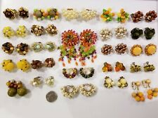 AWESOME Vintage Cluster Clip Earrings LOT Laguna Western Germany Japan HK