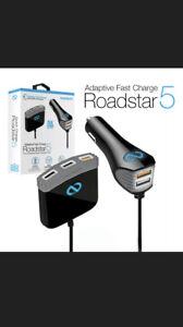 NAZTECH NT13895 ROADSTAR 5 USB CAR CHARGER HUB BLK QC - BRAND NEW