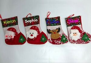 Personalised Custom Christmas Stocking (Small Size Approx A4) - Any Name Colour
