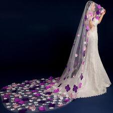2016 New Stunning Purple Petal Floral Wedding Lace Veil Luxury Bride 3M