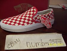 NEW Vans Slip on Golden Coast White Red checkerboard size 12