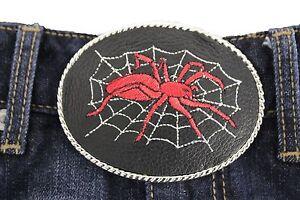 Men Women Belt Buckle Silver Metal Fashion Black Leather Widow Spider Web Net