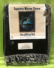 "Sea World Shamu Orca Woven Tapestry Throw Blanket Wall Hanger 45""x60"" - New"