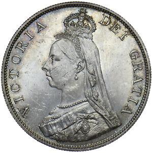 1889 DOUBLE FLORIN - VICTORIA BRITISH SILVER COIN - SUPERB
