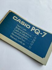 Vintage Casio PQ-7 Alarm / Clock / Stopwatch Made in Japan 1979 *BOOKLET ONLY*