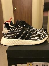 Adidas NMD_R2 PK Primeknit Black White Red Men's Sz US8 BB2951