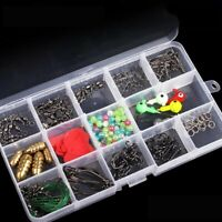 220pcs Fishing Hooks Set Freshwater Saltwater Fishing Double Loops Tackle Box UK