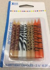 Animal Print Birthday Candles 16 Pack  Bakery Crafts 4 Patterns. 2 1/2""