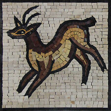 Gazelle Table Top Insert Handmade Home Art Decor Marble Mosaic IN54