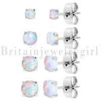 8PCS Stainless Steel Synthetic 3/4/5/6MM Round Opal Post Stud Earrings for Women