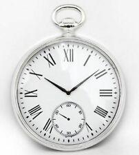 Silver Round Wall Clock Pocket Watch Design