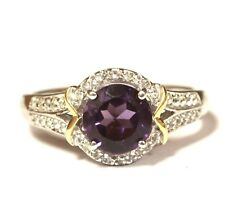 New 925 Sterling Silver 10k yellow gold Amethyst created sapphire ring 2.6g