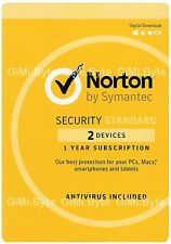 Symantec Norton Internet Security Standard 2018 Antivirus 2 PC User 1 Year MAC