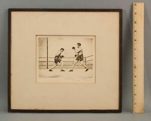 RARE Antique Pencil Signed ERNST POCHE Boxing Match Boxers Etching Print NR