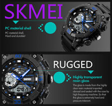 SKMEI Mens Boys Waterproof Digital Shock Sports Wrist Watch G LED Quartz 5 ATM