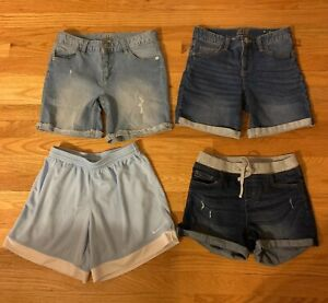 Lot Of 4 Girls Athletic & Denim Jean Shorts Lot - Size 16 JUSTICE & XL NIKE