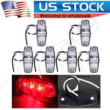 6X Clear len Red RV Trailer Van Surface Mount Side Marker Light Clearance Lamps