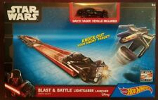 NEW Star Wars Hot Wheels Darth Vader Blast & Battle Lightsaber Launcher w/ Car