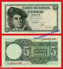 ESPAÑA SPAIN 5 Pesetas 1948 Juan Sebastian Elcano Pick 136a EBC /  XF