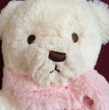 "Plush Teddy Bear Brookstone NAP White Pink Scarf 14"" Lovey Naptime Cuddle Pet"