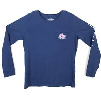 NWOT Vineyard Vines Womens Long-sleeve EDSFTG Skiing Whale Shirt Blue Sz Small