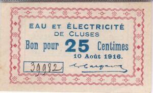 CLUSES (Hte-Savoie) : RARE BILLET DE NECESSITE 25c 1916 EAU & ELECTRICITE