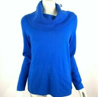 Lord & Taylor Cashmere Sweater Cowl Neck Long Sleeve Solid Blue Women L NWT