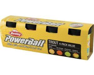 Berkley PowerBait Trout 4 - pack kit assorted color Yellow Orange Rainbow