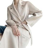 Damen Wolle Trenchcoat Kaschmir Mantel Gürtel Wadenlang Warm Windbreaker Luxus L