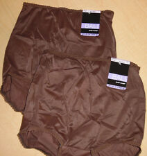 2 Bali Brief Skimp Skamp Panty Nylon 2633 Center Back Seam 6 M Brown NWT