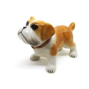 L ceramic Bulldog dollhouse figurines porcelain animal ornament miniature 99
