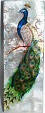 """Peacock Long Capiz Box, Airbrushed By Hand, Decorative Box, 9"""" X  3"""" X 1 1/2"""""""