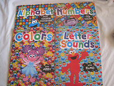 Lot of 4~Sesame Street Learning Books~Colors Numbers Alphabet Sounds~New~LBDAX
