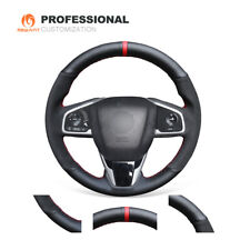 DIY Black Suede Leather Steering Wheel Cover for Honda Civic 10 CRV CR-V Clarity