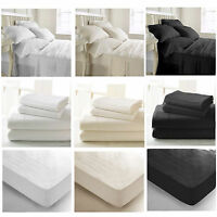 New 400TC Extra Deep Egyptian Cotton Fitted Sheet Single Double King Super King