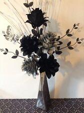 Artificial Silk Flower Arrangement Silver & Black In Slim Silver  Vase