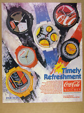 1986 Coke Coca-Cola Watches swatch-like swiss watch 6 Styles vintage print Ad
