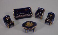 Limoges Porcelain Miniature Salon Set Cobalt Vintage Set of 5
